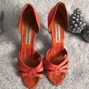MANOLO BLAHNIK Salmon Leather Sandals
